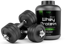 Сывороточный протеин и гантели